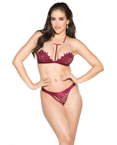 T-front Floral Applique Bra & Panty Burgandy-nude Md