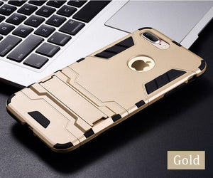 Luxury Slim Hard Stand Armor IPhone Case For Apple iPhone 7 8 6 S 6S Plus Hybrid TPU+PC ShockProof Back Cover for iphone7 5 5S SE