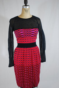 Pink/Red Knit Sheer Dress Size 38