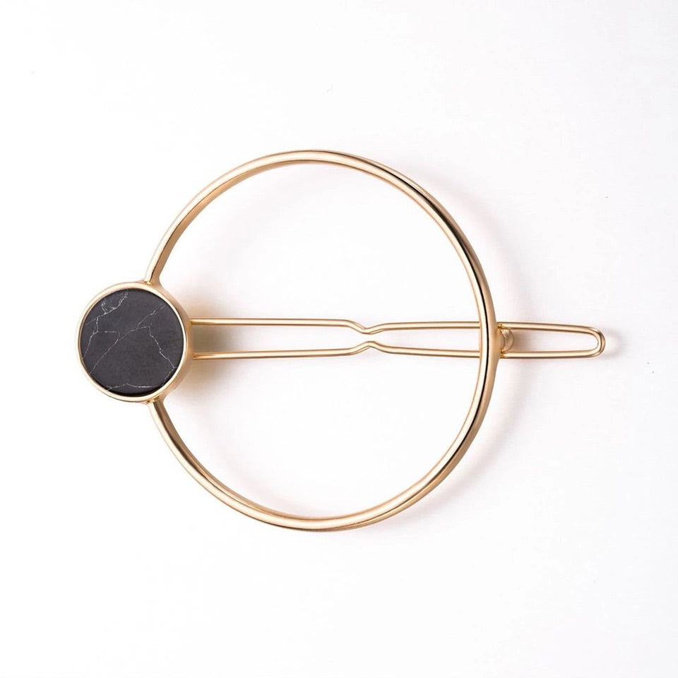 Large Marble Black Gold Hair clip