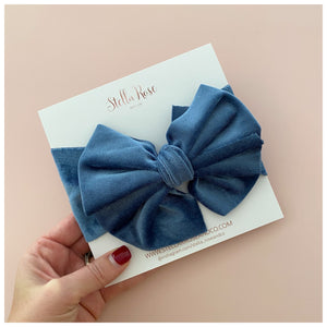 Dusty Blue Ruffle Velvet ~ Bow Knot Headband