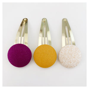 Gold Button Covered Snap Clips