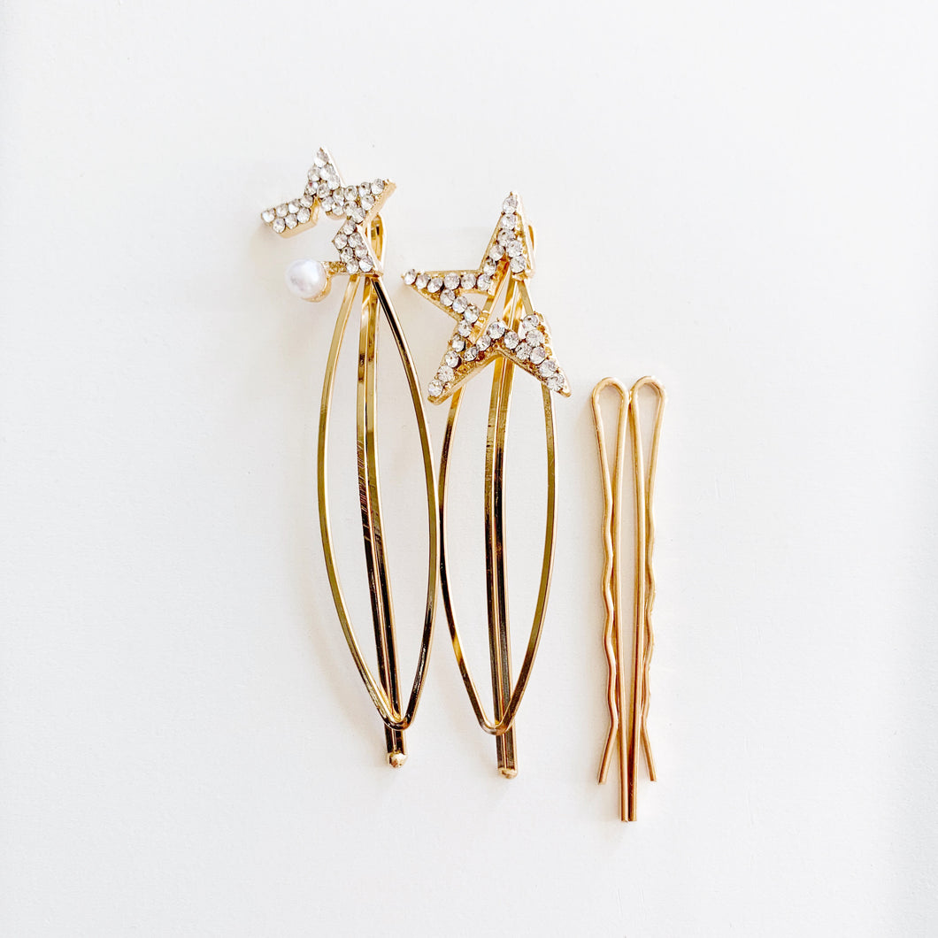 Large Luxe Gold Hair clips-3 piece