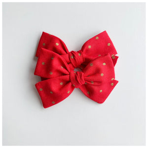 Red and Gold Spot Madison piggy tail set