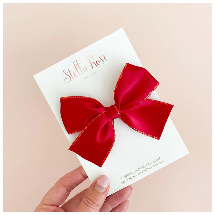 Christmas Red & Gold Trim Madison bow