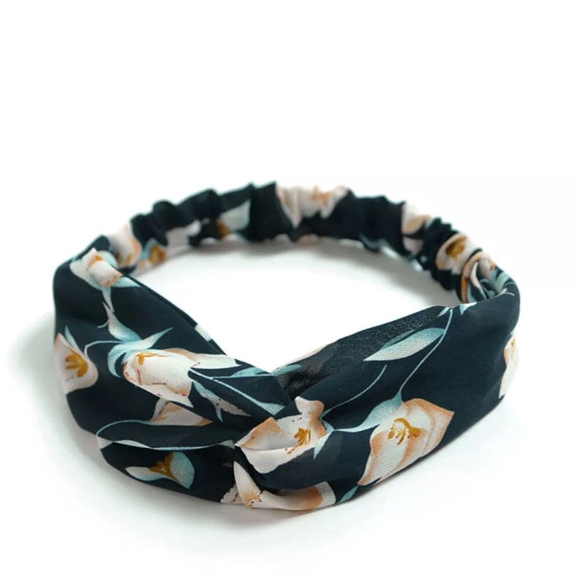 Top knot headband- Navy Floral