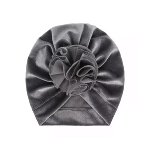 Velvet Ruffle Turban~ Grey
