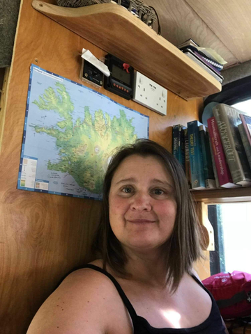 Sue in front of our Iceland Map