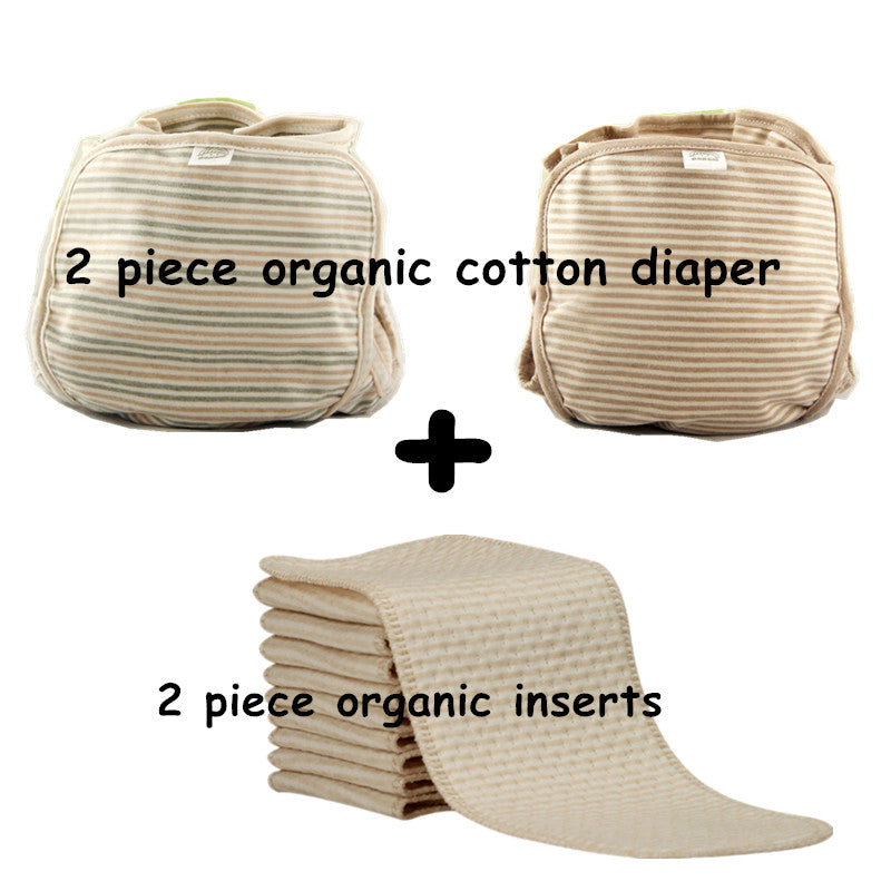 2 pc Organic Cotton Diaper PLUS 2pc Organic Cotton Inserts Washable and Resuable