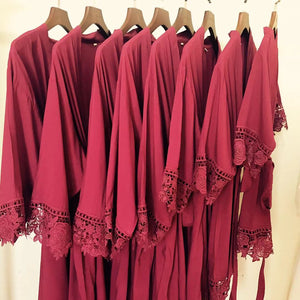 Burgundy Rose Lace Cotton Robe