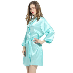 Aqua Solid Satin Robe
