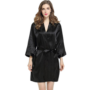 Black Solid Satin Robe