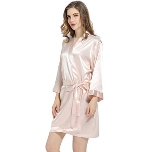 Blush Solid Satin Robe