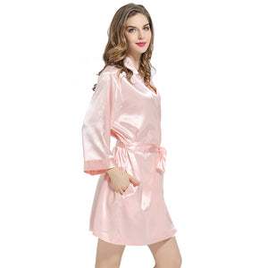 Blush Pink Solid Satin Robe