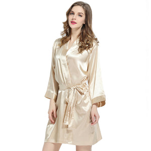 Champagne Solid Satin Robe