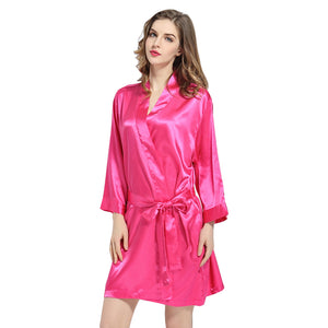 Fushcia Solid Satin Robe