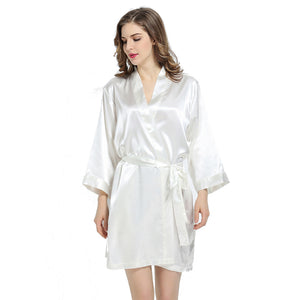 White Solid Satin Robe