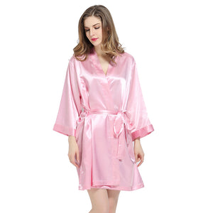 Pink Solid Satin Robe