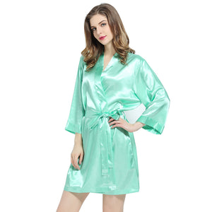 Mint Solid Satin Robe