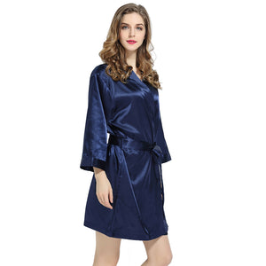 Navy Solid Satin Robe