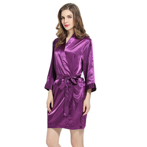 Purple Solid Satin Robe