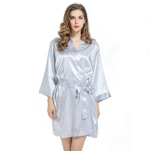 Silver Solid Satin Robe