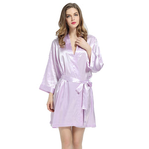 Lavender Solid Satin Robe