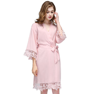 Blush Rose Lace Cotton Robe