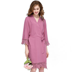 Dusty Pink Rose Lace Cotton Robe