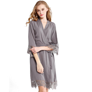 Grey Rose Lace Cotton Robe