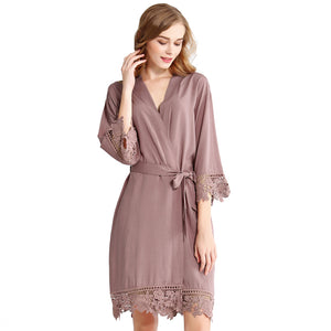 Mauve Rose Lace Cotton Robe