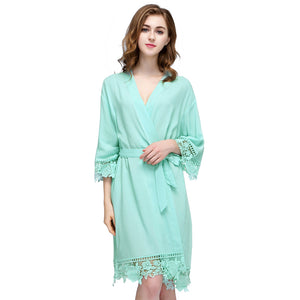 Mint Rose Lace Cotton Robe
