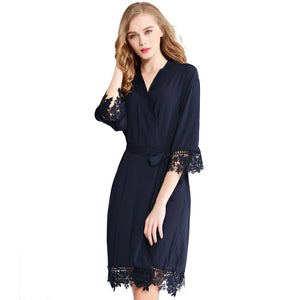Navy Rose Lace Cotton Robe