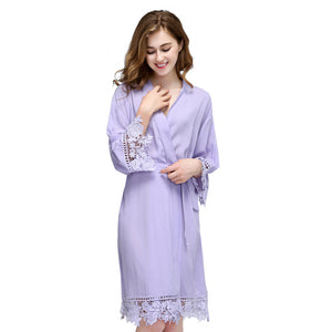 Violet Rose Lace Cotton Robe
