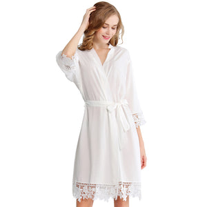 White Rose Lace Cotton Robe