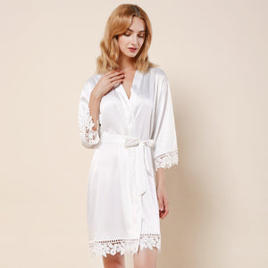 White Lauren Lace Satin Robe