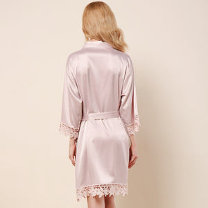 Nude Pink Lauren Lace Satin Robe