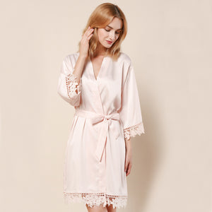 Blush Lauren Lace Satin Robe