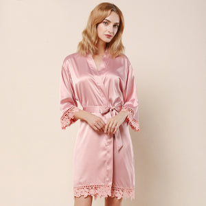Dusty Rose Lauren Lace Satin Robe