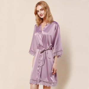 Mauve Lauren Lace Satin Robe