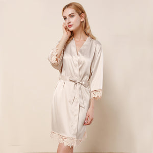 Champange Lauren Lace Satin Robe