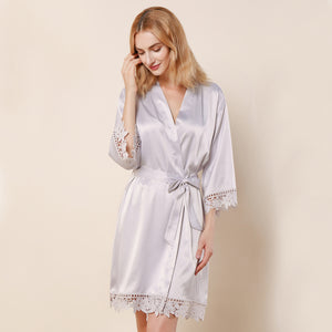 Silver Lauren Lace Satin Robe