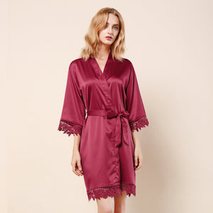 Burgundy Lauren Lace Satin Robe