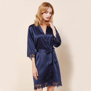 Navy Lauren Lace Satin Robe