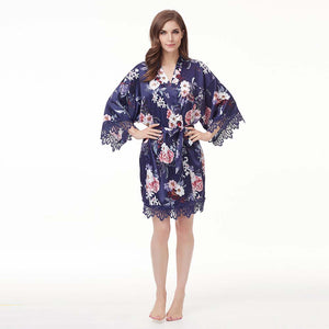 Navy Floral Lace Satin Robe