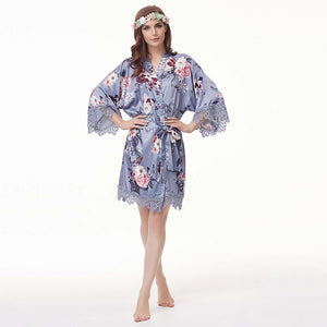 Dusty Blue Floral Lace Satin Robe