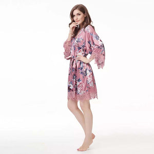 Dusty Rose Floral Lace Satin Robe
