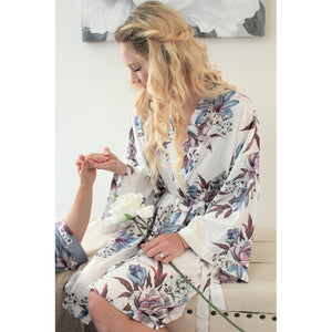 Fine Floral Satin Robe | White