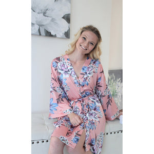 Fine Floral Satin Robe | Dusty Rose