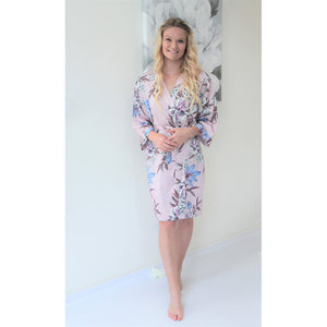 Fine Floral Satin Robe | Nude